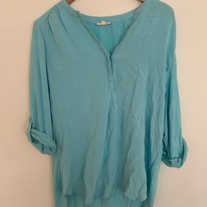 Pleione Large sky blue blouse with roll up sleeves